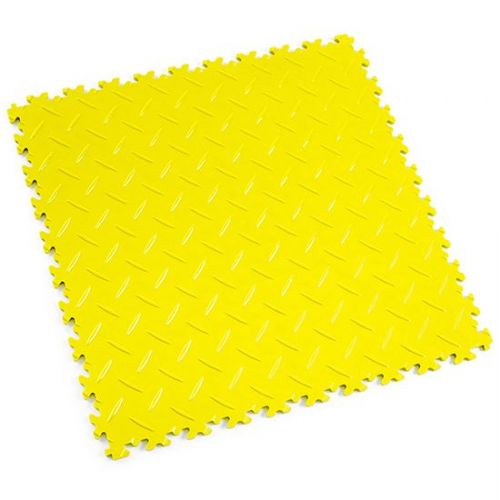 Yellow Diamond Plate - Motolock Interlocking Floor Tile